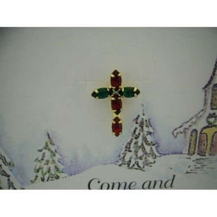 Austrian Crystal Cross Pin Badge, O Holy Night
